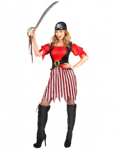 Piratenbraut-Kostüm für Damen schwarz-weiss-rot-1