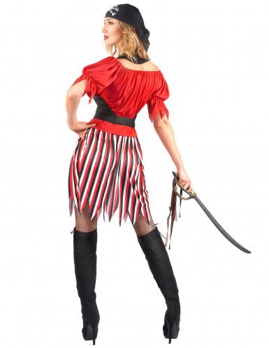 Piratenbraut-Kostüm für Damen schwarz-weiss-rot-2