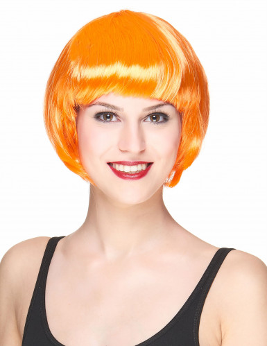 orange Kurzhaar-Perücke für Damen