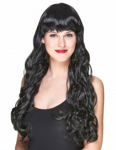 schwarze Langhaar-Perücke für Damen