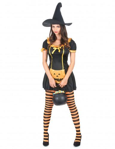 Hexenkostüm Kürbis Halloween für Damen
