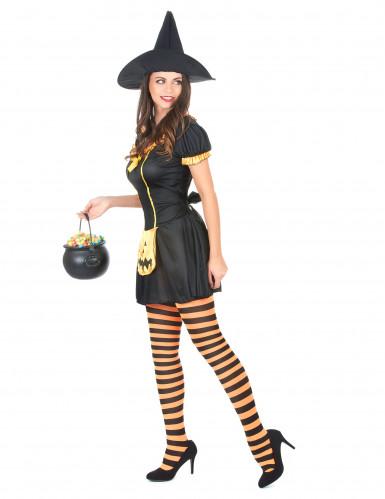 Hexenkostüm Kürbis Halloween für Damen-1