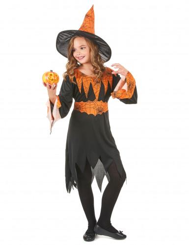 Hexenkostüm Halloween orange für Mädchen-1