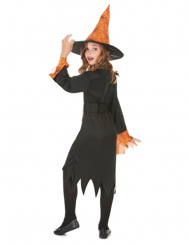 Hexenkostüm Halloween orange für Mädchen-2