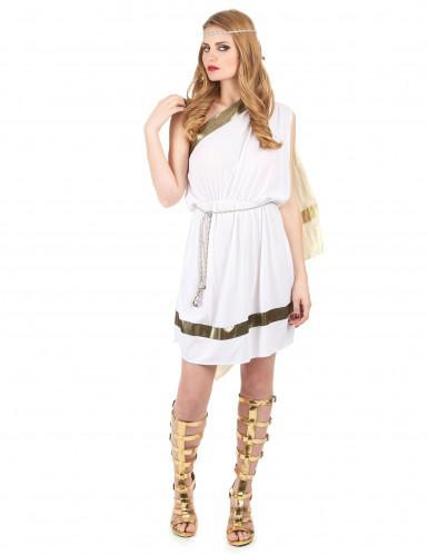 Elegantes Römerinnen-Kostüm für Damen weiss-goldfarben