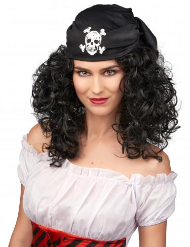 Piraten-Perücke braun für Damen