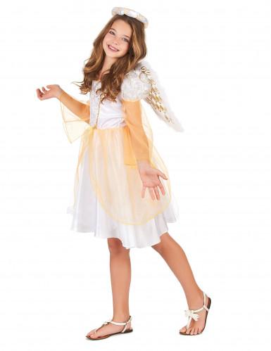 Bezauberndes Engelskostüm für Mädchen weiss-gold-1