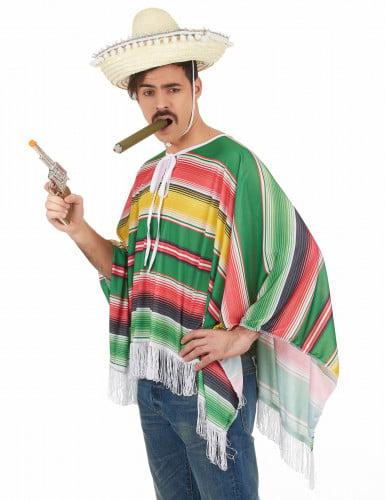 Mexikaner-Kostüm Poncho für Herren bunt-1