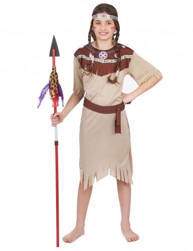 Indianerinnenkostüm für Mädchen mit Fransen bunt