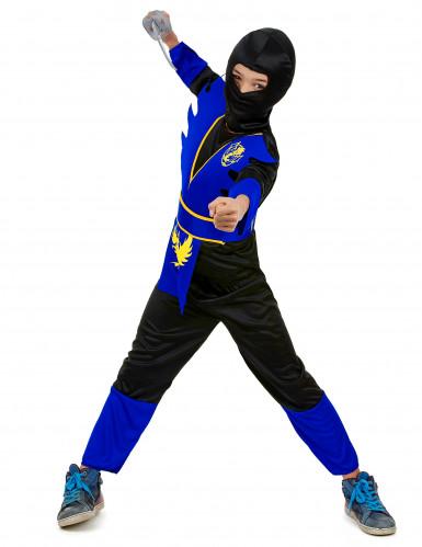 Ninjakostüm für Kinder schwarz-blau-gelb-1