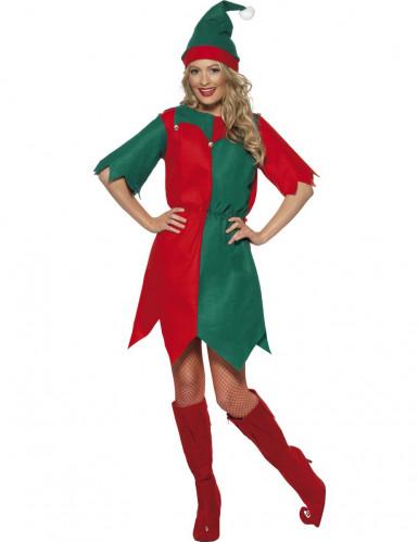 Damenkostüm süßer Weihnachtswichtel in grün-rot