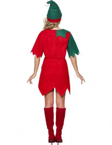 Damenkostüm süßer Weihnachtswichtel in grün-rot-1