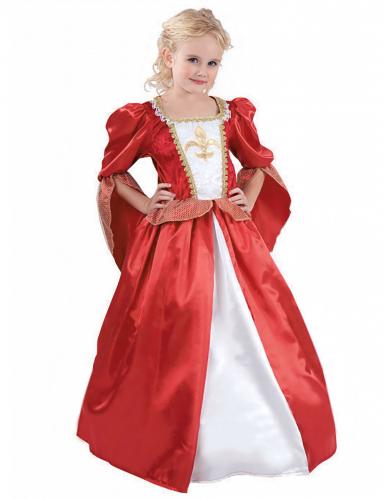 Edles mittelalterliches Königinnen-Kostüm für Mädchen rot-weiss-goldfarben
