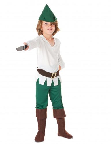 Rebellischer Waldläufer Kinderkostüm für Jungen braun-weiss-grün