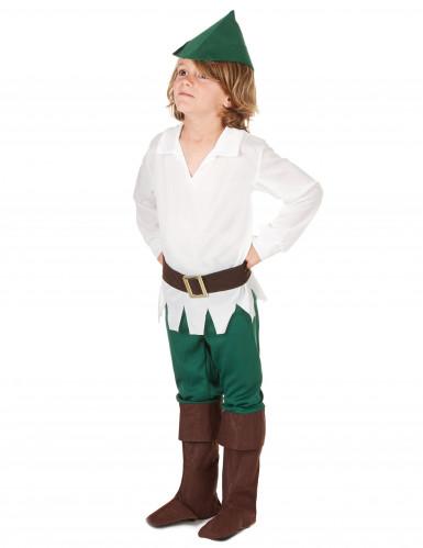 Rebellischer Waldläufer Kinderkostüm für Jungen braun-weiss-grün-1