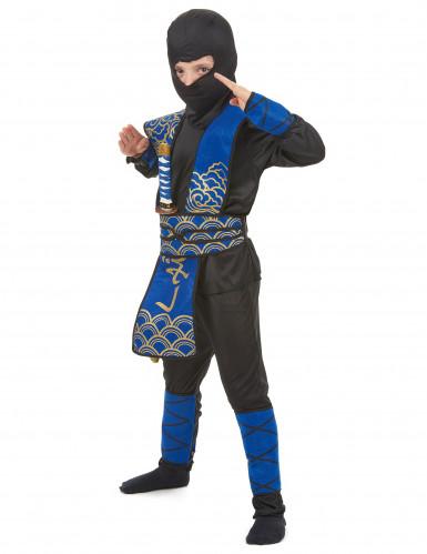 Ninja-Jungen-Kostüm blau-schwarz-goldfarben-1