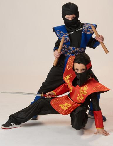Ninja-Jungen-Kostüm blau-schwarz-goldfarben-3