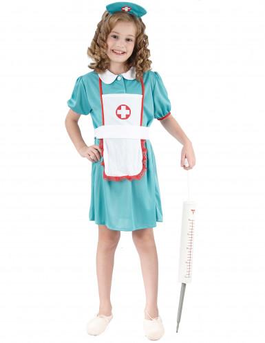 Krankenschwester Mädchenkostüm türkisfarben-weiss-rot