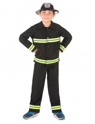 Feuerwehrmann-Kostüm für Jungen Beruf schwarz-gelb