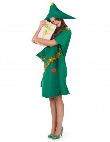 Weihnachtsbaum-Kostüm aus Filz für Damen grün-gold-1