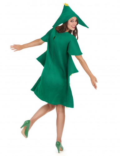 Weihnachtsbaum-Kostüm aus Filz für Damen grün-gold-2