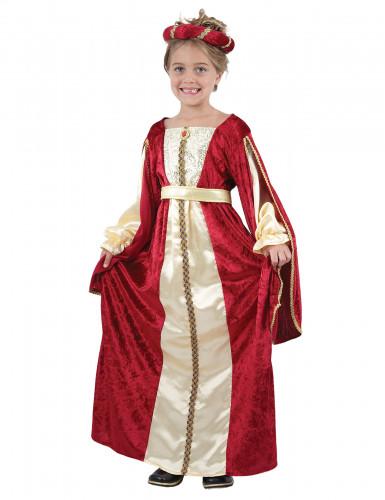 Mittelalter-Königin Mädchenkostüm rot-goldfarben