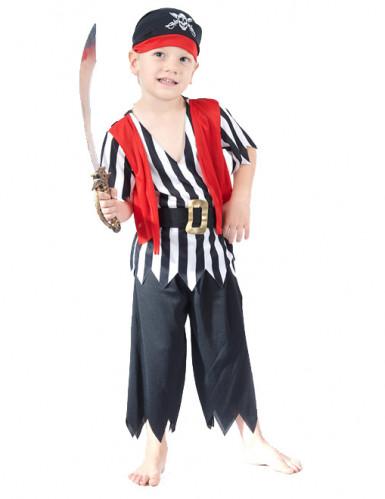 Piraten-Kinderkostüm mit Fransen schwarz-weiss-rot