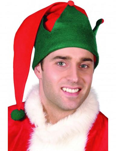 Elfen-Weihnachtsmütze für Erwachsene grün-rot