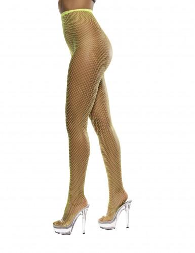 Leuchtgelbe Netzstrumpfhose für Damen