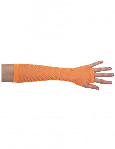 Halb-Handschuhe Netz orange für Damen
