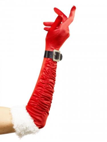 Lange Handschuhe Weihnachtsfrau für Erwachsene