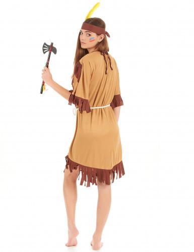 Indianerinnenkostüm für Damen mit Fransen braun-beigefarben-2