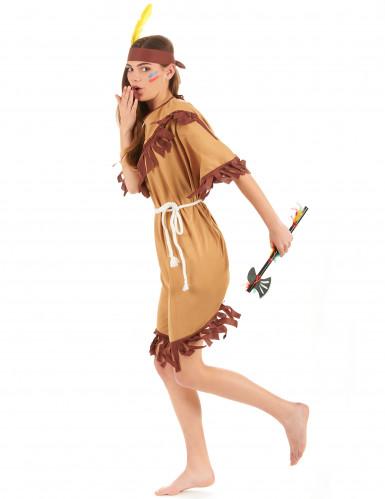 Indianerinnenkostüm für Damen mit Fransen braun-beigefarben-1