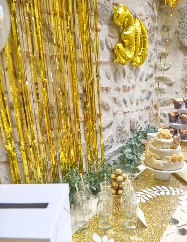Glänzender Lametta-Vorhang goldfarben-2