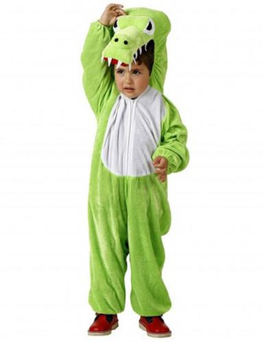 Krokodilskostüm für Kinder grün weiss-schwarz