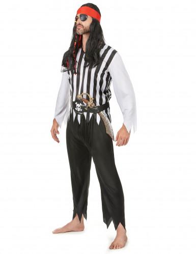 Piraten-Karnevalskostüm für Herren schwarz-weiss-rot-1