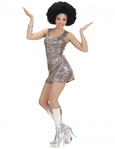 Disco-Kleid für Damen silber mit Pailletten