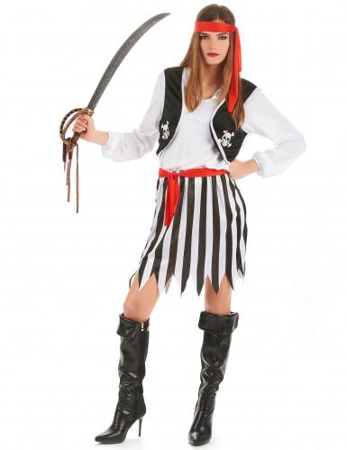 Piratin-Kostüm für Damen schwarz-weiss-rot