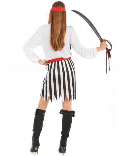 Piratin-Kostüm für Damen schwarz-weiss-rot-2