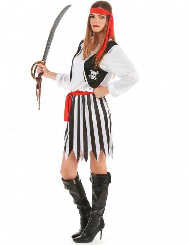 Piratin-Kostüm für Damen schwarz-weiss-rot-1