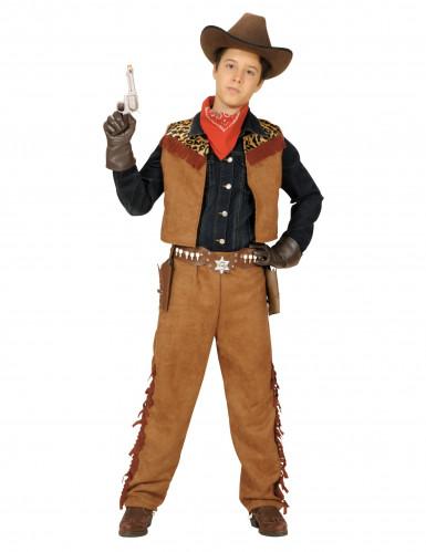 Kinder Cowboy-Kostüm für Jungen Leder-Imitation braun