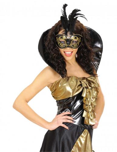 Schwarz-goldenen Halbmaske mit Federn-1