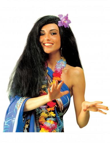 Schwarze Hawaï Perücke für Damen