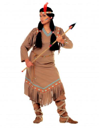 Indianer-Stammeskriegerin-Kostüm langärmelig bunt-1