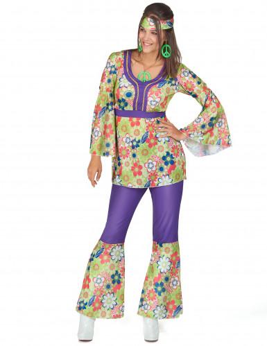 Hippiekostüm für Damen violett-grün-rot