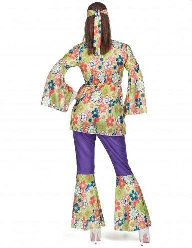 Hippiekostüm für Damen violett-grün-rot-2