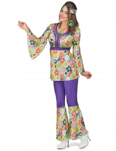 Hippiekostüm für Damen violett-grün-rot-1