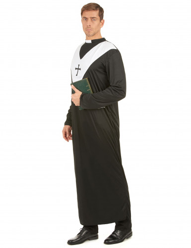 Priesterkostüm für Herren schwarz-weiss-1