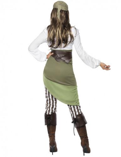 Sexy Piraten-Damenkostüm Seeräuberin grün-creme-braun-2