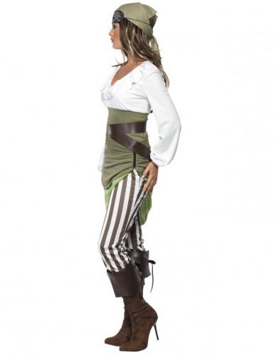 Sexy Piraten-Damenkostüm Seeräuberin grün-creme-braun-1